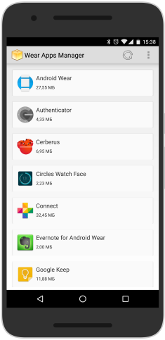 Интерфейс Wear App Manager & Tracker
