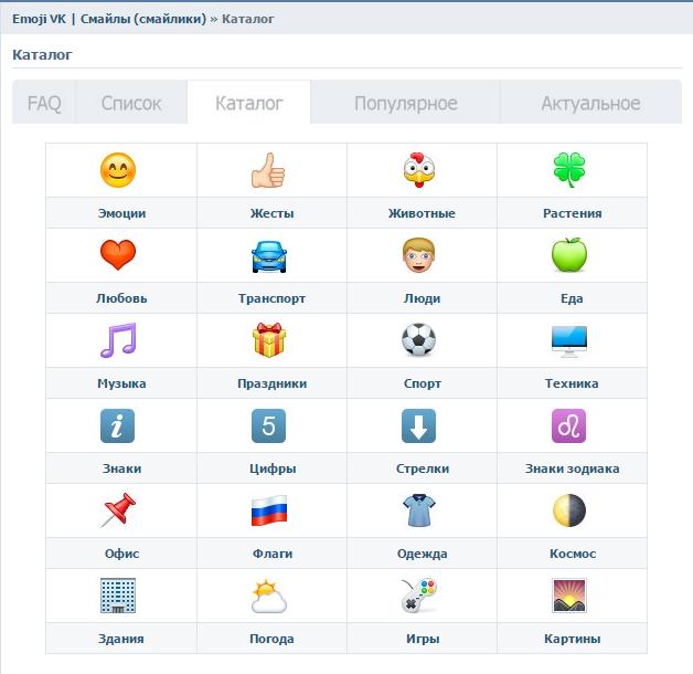 Эмодзи для Вконтакте