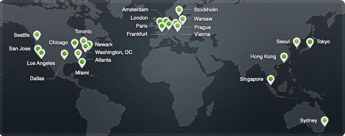 Карта серверов CloudFlare