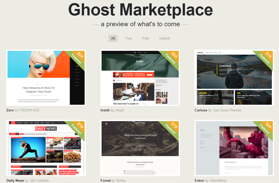 Магазин тем Ghost