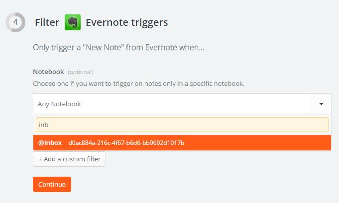 Настройка блокнота Evernote