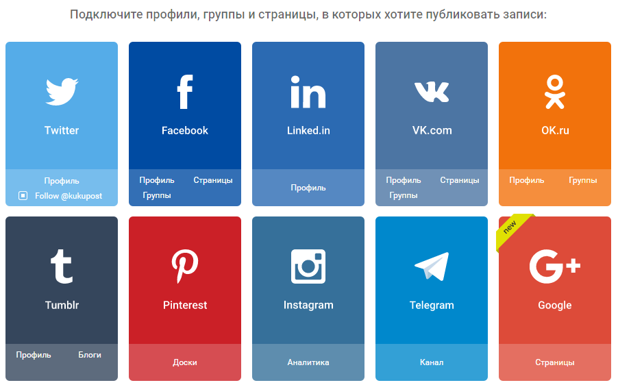 Поддерживаемые социальные сети