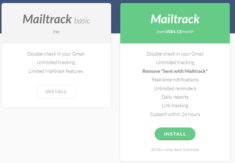 Тарифные планы MailTrack