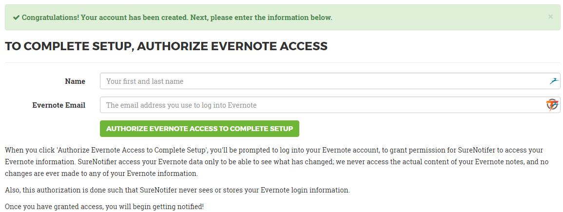 Подключение Evernote к SureNotifier