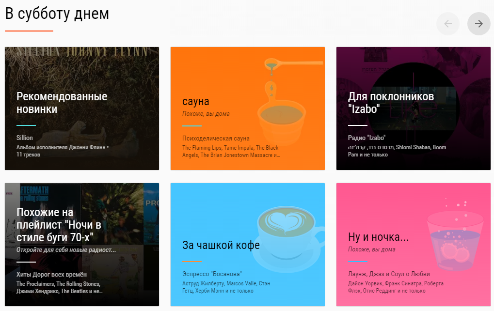 Рекомендации Google музыки