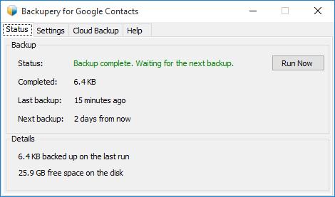 Backupery для Google Контактов