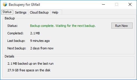 Backupery для Gmail
