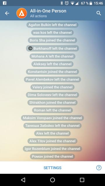 Лог подписок канала