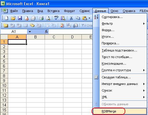 Опция RDBMerge add-in