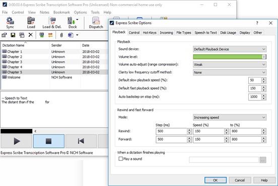 Управление аудиопотоком в Express Scribe