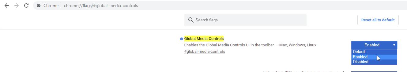 Флаг включения кнопок управления медиа в Google Chrome