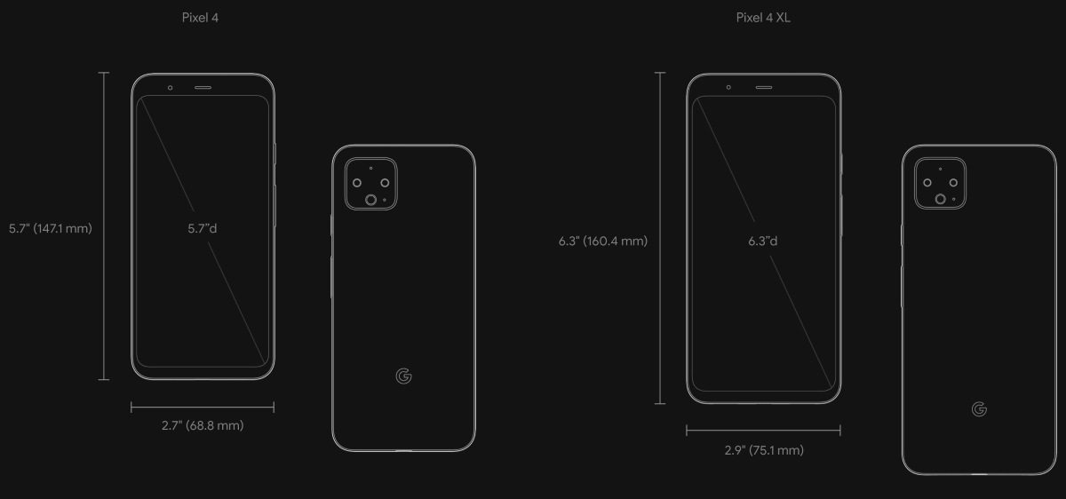 Отличие размеров Google Pixel 4 и Pixel 4 XL