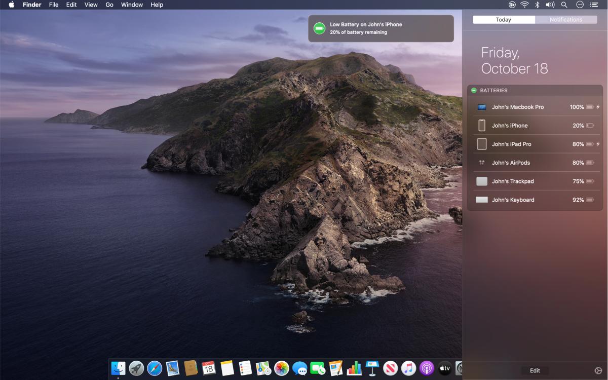 Просмотр уровня батареи iPhone на Mac