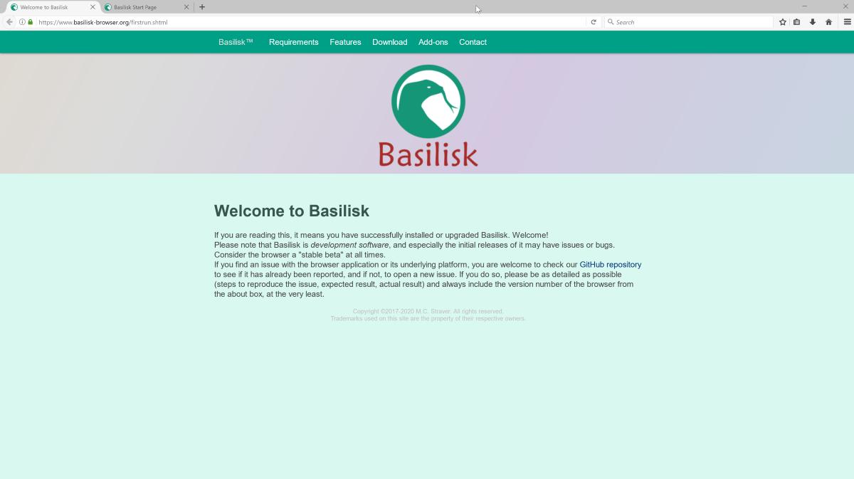 Basilisk браузер