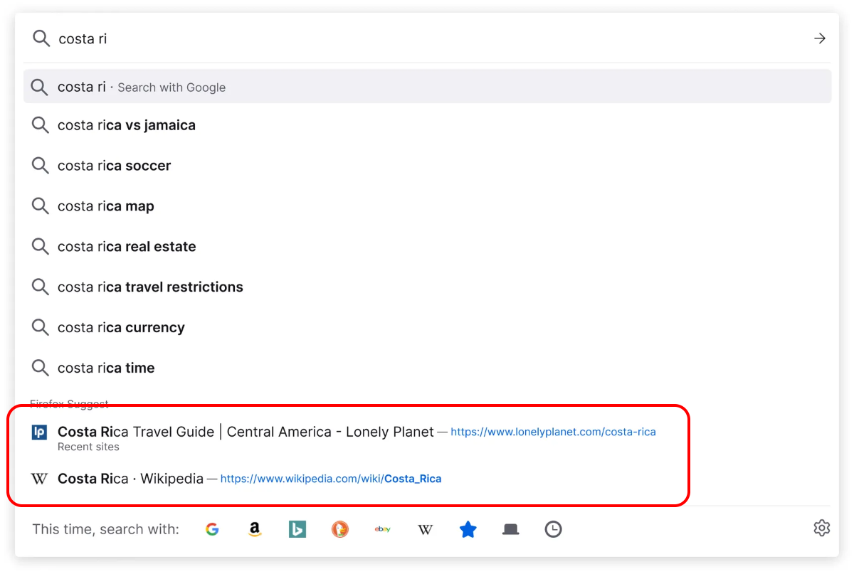 Как отключить рекламу в адресной строке Firefox